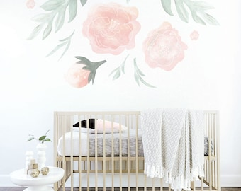 Flower Wall Decal Kids Wall Decal Pink Flower Decal Mural Large Flowers Shelf Adhesive Removable Kids Decor Pink Nursery. Flower Wall Decal