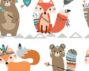 Fabric, child, BE BRAVE, RACCOON ANIMAL ADVENTURE, Indians, animals