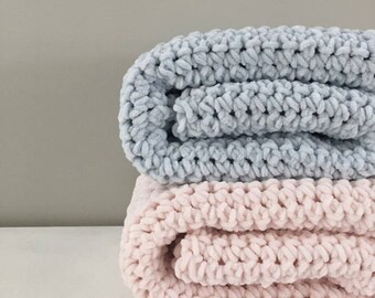 Velvet chenille baby blanket | extra soft | choose your color