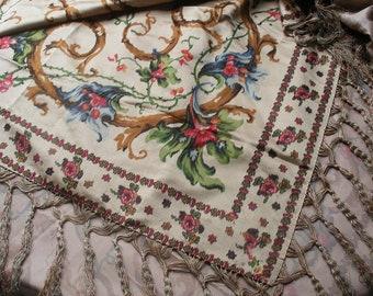 Antique Victorian silk shawl