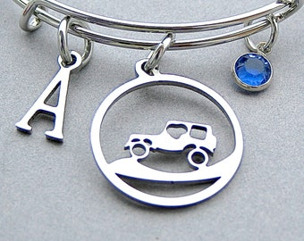 Off Road Charm Bangle - 4x4 vehicle Bracelet - Personalize with Initial - Swarovski Birthstone - 4x4 Rally Club Bangle , Topless Vehicle