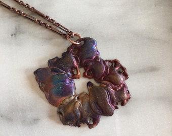 Freeform copper pendant necklace