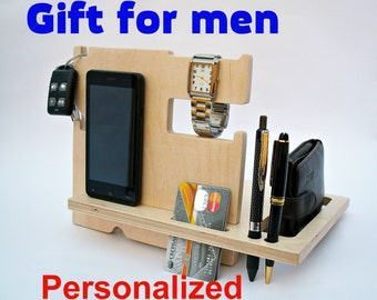 Fathers Day Dad Gifts Personalized Gift for Dad  Gift from Son  Father gift Gifts for Men Wood Docking Station