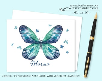 Free Ship!  Set of 12 Personalized / Custom Notecards, Boxed,  Butterfly, greens & Blues, Blank Inside, Initials, Monogram, Name