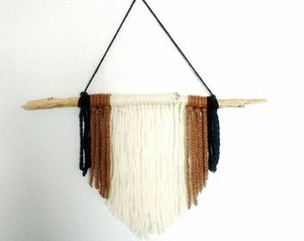 Wall hanging Driftwood Woven wool