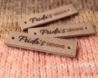 Custom logo labels, leather knitting labels, labels, personalized garment tags, logo branding labels, crochet leather labels, set of 25