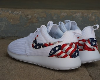 New Nike Roshe Run Custom Red White Blue American Flag Edition Mens Shoes  Sizes 8 -