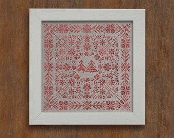Swedish Folk Cushion - Cross Stitch Pattern - Instant Download PDF Cross Stitch Embroidery Pattern