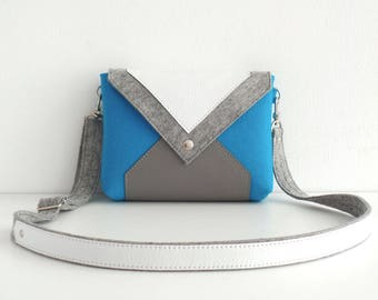 Turquoise Gray White Wool Felt Genuine Leather Crossbody Bag