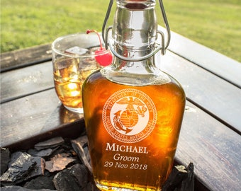 MARINE CORPS Glass Flask-8 oz Swing Top Glass Flask-Wedding Gift, Groomsmen Gift, Personalized,Laser Engraved, Wedding Favor, Free Engraving