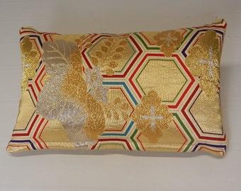 Japanese Silk and Metal Obi Pillows