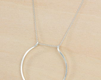 Hammered Large Open Circle in Silver or Gold Horseshoe Necklace, Long Chain Modern Simple Statement Necklace, Handmade Wire Jewelry
