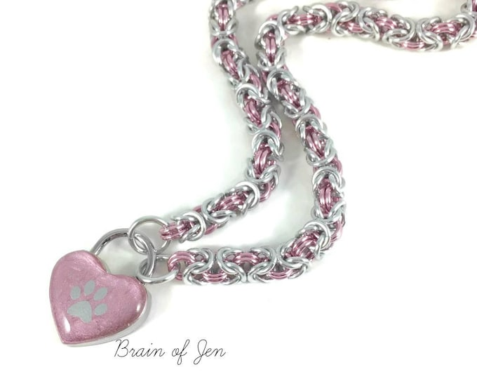 BDSM Slave Collar Pink Lock Silver Paw Print Chainmail Day Collar Puppy Kitten Submissive