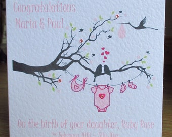 Personalised Handmade New Baby Girl Pink Blossom Tree Congratulations Card