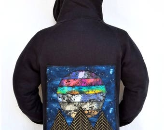 Space Scape Hoodie - Psychedelic Hoodie - Plant and Pyramid Patchwork - Fabric Collage Patch
