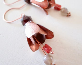Chocolate Moonstone Coral & Garnet Belle Fleur Earrings - Copper - Etsy Accessories - Jewelry - Flower - catROCKS - Stamen Whimsical Floral