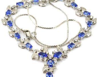 Sterling Silver Elegant Rich Blue Violet Tanzanite Gemstone Necklace & AAA CZ Accents