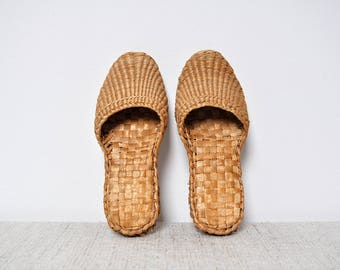 Vintage Oversized Woven Straw Slippers