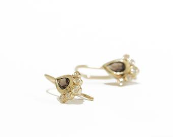Gold dangle earrings, gold drop earrings, smoky Quartz and gold earrings, solid gold earrings, gold earrings, smoky Quartz, drop earrings