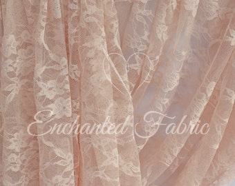 BLUSH Bridal Lace| Prom Dress Fabric | Floral Baby Wrap Lace | Stretch Lace | Maternity Dress Lace | Vintage Wedding Lace Fabric | 1301