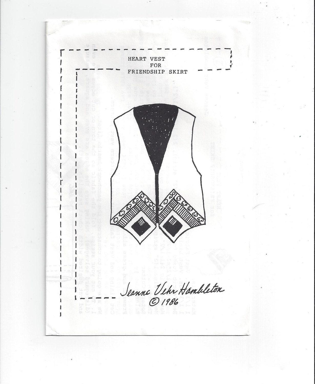 1986 patrón para chaleco de corazón para la amistad de falda
