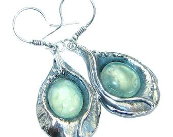 Moss Prehnite Sterling Silver Earrings - weight 8.60g - dim L- 1 7 8, W - 5 8, T- 3 16 inch - code 3-sie-17-8