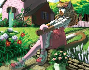Lolita Furry Art Print | Anthro cat girl in Japanese lolita fashion | Kawaii Cat girl calico siamese furry | Digital painting print