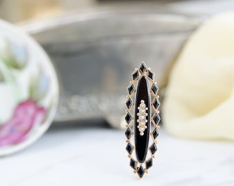 Antique Black Onyx and Seed Pearl Brooch - Victorian Mourning Jewelry - Downton Abbey Gift For Her