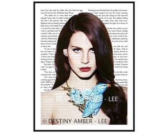 Lana Del Rey Blue Bird Vintage Dictionary Art Print