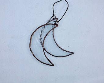 Crescent Moon Stained Glass Christmas Ornament or Window Hang