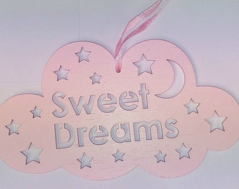Pink or  Blue Sweet Dreams Hanging Cloud Nursery Decoration Ornanment