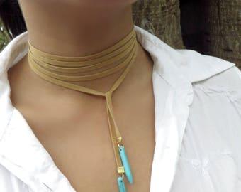 Choker Necklace, Wrap Necklace, Minimalist Necklace, Tan Turquoise Wrap Choker, Boho Choker, Bohemian Jewelry, Spike Choker, Suede Choker