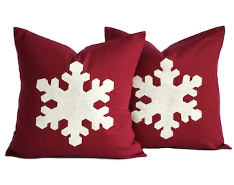 Two red linen 20x20 Snowflake Christmas Pillow covers, holiday pillow, decorative pillow, cushion, Christmas decoration