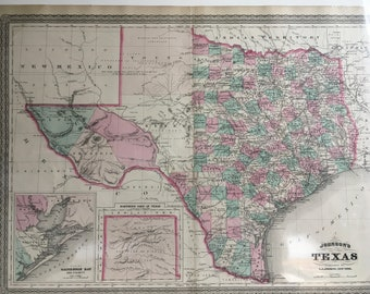 TEXAS,  Antique Map 1866, Original Antique Handcoulored Map