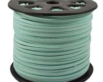 Green suede cord with water 3mm wide, sold by 1 M