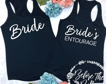 ONE Bride's Entourage Tank Top. Terry Tank Top. Sizes XS-XXL. Bride Tank Top. Bridal Party Tanks. Maid Of Honor Shirt. Outdoor Wedding.