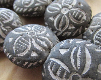 African, Etched Flower Black Clay African Bead, African Beads, African Black Clay, Black Clay Bead, Black Clay, Black Bead, Mali Beads