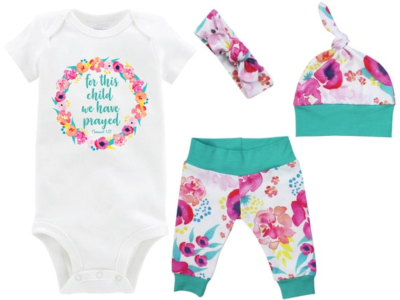 For This Child We Have Prayed Coming Home Outfit Onesie Watercolor Floral Teal Pink Yoga Leggings Top Knot Hat Headband Infertility Onesie