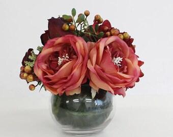 Luxury Red Hydrangea and Rose Flower Arrangement