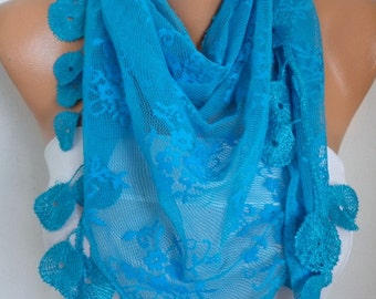 Blue Lace Scarf,Summer Scarf, Shawl, Women Scarves, Cowl Scarf Bridesmaid Gift Gift Ideas For Her Women Fashion Accessories