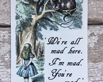 Alice in Wonderland Cheshire Cat with Alice Print, with Quotation, Hand-coloured, Unframed Print
