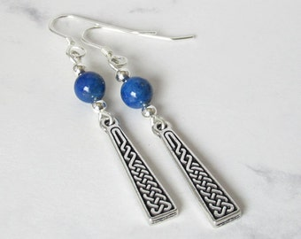 Celtic Knot Lapis Earrings, Sterling Silver Beads, Sterling Silver Earwires