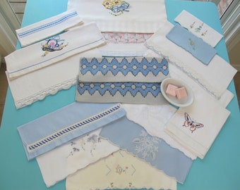 17 Towels Destash Lot Fingertip Guest Shades of Blue Linen Cotton Hand Embroidered Crocheted Lace Tatting Vintage c.1930s