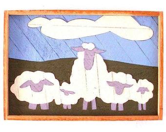 Counting Sheep Vintage Artwork // Childrens Kids Room Baby Room Wall Hanging // Animal Folk Art Farm Animals