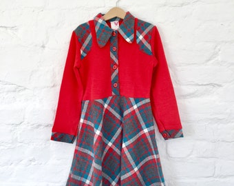 Vintage 60s 70s  Red/Checkered Dress French Made 8-10 Y
