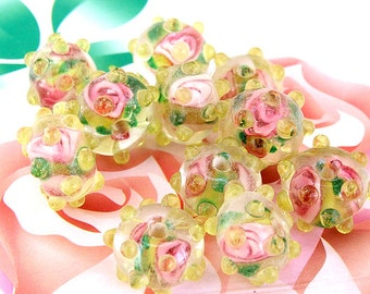 5beads/lot Charm Candy  Yellow Flower Rondelle Lampwork gemstone beads 11mmx12mm