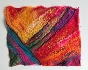 Painting art wetfelted abstract colourful wall decoration