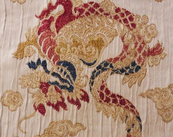 Vintage Heavy Brocade Oriental Dragon Design Fabric for Upholstery/Projects Etc.
