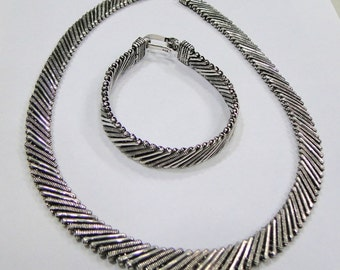 Vintage antique silver jewelry set Necklace Bracelet or Bangle from Rajasthan