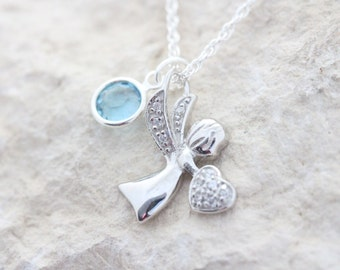 Sterling silver guardian Angel Necklace birthstone, Silver Angel with CZ Charm, First communion Baptism gift, silver angel Choose chain